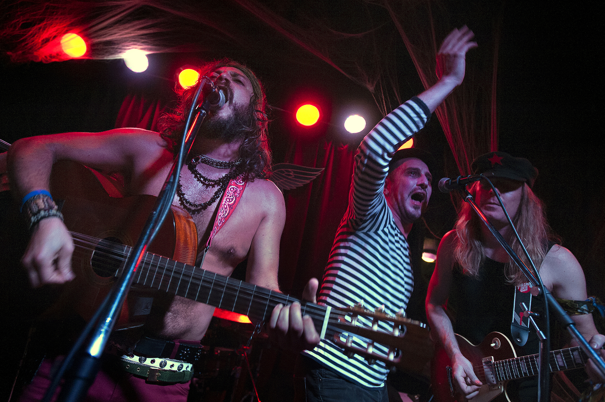 "NoRey performs as Gogol Bordello during the 2015 ""Come as You Aren't"" Battle of the Bands Halloween competition Oct. 31 at The Skylark in West Seattle. Band members include: Alejandro, vocals and guitar, Mikey, percussion, drums and vocals, Dave, bass, Vicky, vocals, and Nick, guitar."