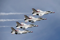 The U.S. Air Force Thunderbirds air demonstration team performs over McChord Field during the JBLM Airshow & Warrior Expo Saturday.