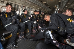 Members of the U.S. Army Golden Knights Parachute Team make final preparations for their performance over McChord Field during the JBLM Airshow & Warrior Expo Saturday.