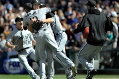 White Sox starter Phil Humber celebrates his perfect game with teammates after Chicago defeated the Seattle Mariners 4-0 April 21 on Salute to Armed Forces day at Safeco Field.