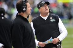 Jets coach Rex Ryan watches a replay on the scoreboard.