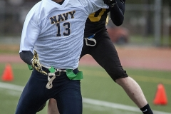 Army's Bobby Walker, right, breaks up a pass intended for Navy receiver Lawrence Jasper (13) during the 17th annual Puget Sound Army vs. Navy Flag Football Classic at Cowan Stadium on Lewis Main Nov. 18. Navy defeated Army 28-0.
