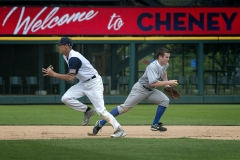 Air Force shortstop Timothy Mason, right, races to the bag to begin a double play attempt during the team's opening round loss to Navy Monday at the Salute to Armed Forces Softball Classic at Cheney Stadium in Tacoma.